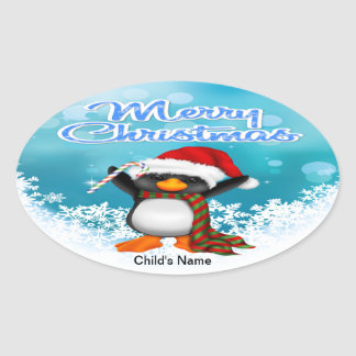 Merry Christmas Penguin Oval Stickers