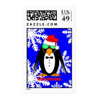 Merry Christmas penguin Postage