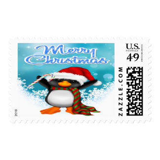 Merry Christmas Penguin Postage Stamps