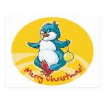Merry Christmas Penguin Postcard