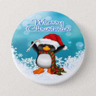 Merry Christmas Penguin Round Button