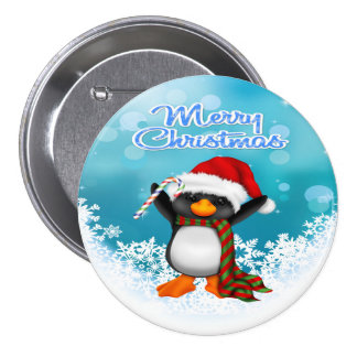 Merry Christmas Penguin Round Button