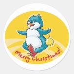 Merry Christmas Penguin Round Sticker