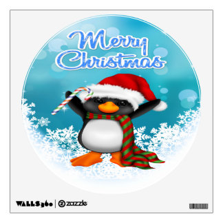 Merry Christmas Penguin Round Wall Decal