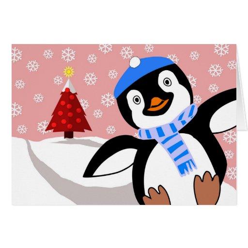 Merry christmas penguin sliding downhill card zazzle for Penguin christmas cards homemade