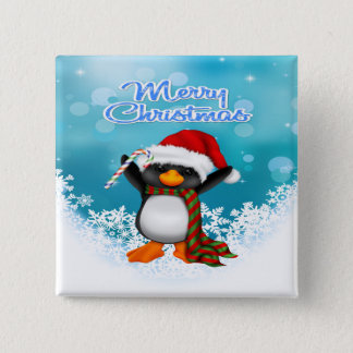 Merry Christmas Penguin Square Button