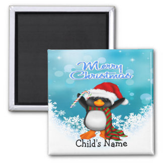 Merry Christmas Penguin Square Magnet