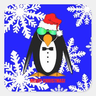 Merry Christmas penguin Square Sticker