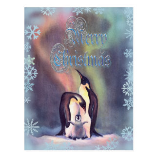 MERRY CHRISTMAS PENGUINS by SHARON SHARPE Postcard