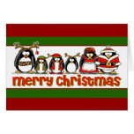 Merry Christmas Penguins Greeting Card