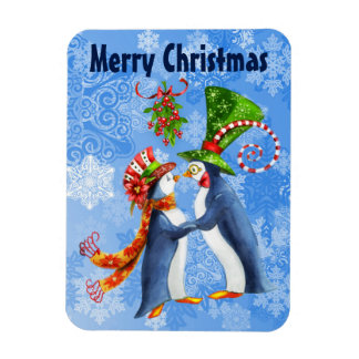 Merry Christmas Penguins in Love Under Mistletoe Magnet
