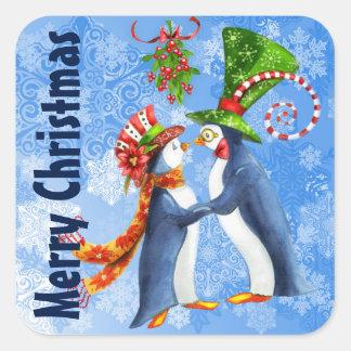Merry Christmas Penguins in Love Under Mistletoe Square Sticker