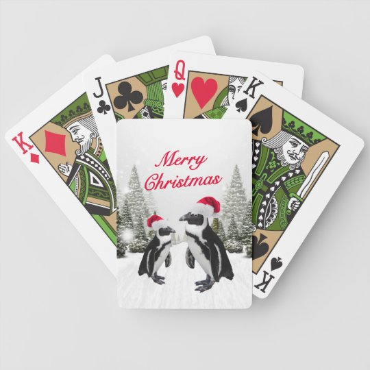 Merry Christmas Penguins In The Snow Bicycle Playing Cards