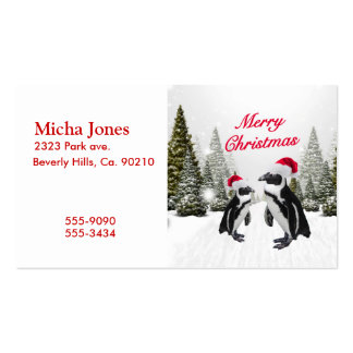 Merry Christmas Penguins In The Snow Double-Sided Standard Business Cards (Pack Of 100)