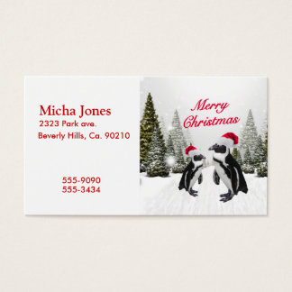 Merry Christmas Penguins In The Snow Business Card