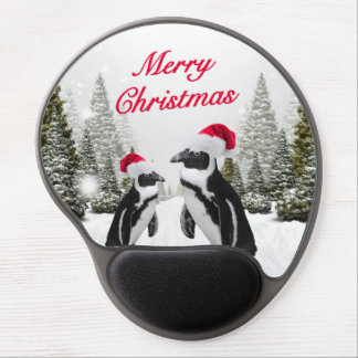 Merry Christmas Penguins In The Snow Gel Mouse Pad