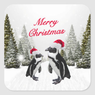Merry Christmas Penguins In The Snow Square Sticker