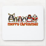 Merry Christmas Penguins Mouse Mats