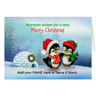 Merry Christmas Penguins with Igloo in Snow Card
