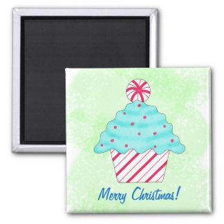 Merry Christmas Peppermint Cupcake Art Green Magnet