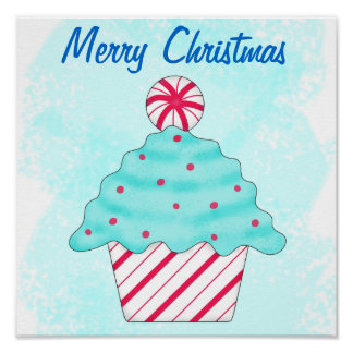 Merry Christmas Peppermint Cupcake Customized Posters