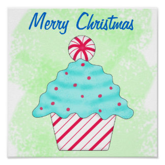 Merry Christmas Peppermint Cupcake Green Holiday Poster