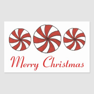 Christmas Themed Merry Christmas Peppermint Starlight Mint Stickers