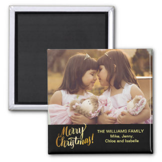 Merry Christmas Personalized Family Photo Magnet