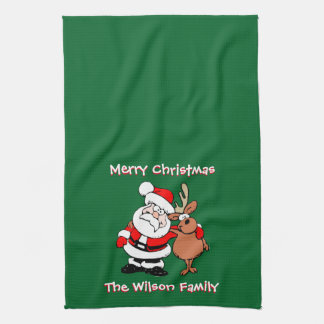 Merry Christmas Personalized Green Tea Hand Towel
