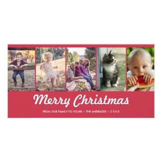 Merry Christmas Personalized Multi Photo Holiday Photo Card