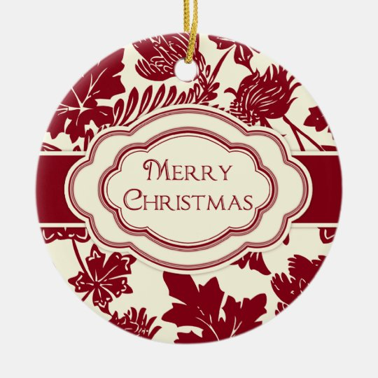 Merry Christmas Personalized Ornament Elegant Red