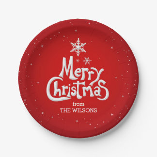 Merry Christmas Personalized Paper Plates