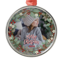 Merry Christmas Personalized Round Wreath Photo Metal Ornament
