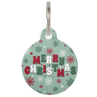 Merry Christmas Pet ID Tag