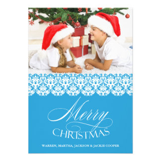 Merry Christmas Photo Blue Flat Card