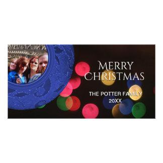 Merry Christmas Photo Blue Red Green Bokeh Card
