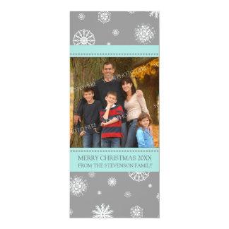 Merry Christmas Photo Card Aqua Grey Snowflakes