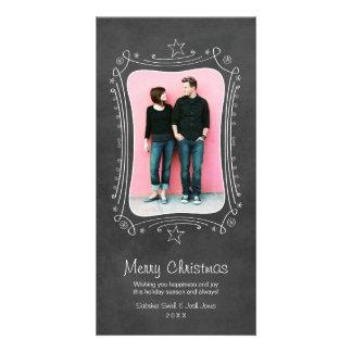 Merry Christmas Photo Card | Black Chalkboard