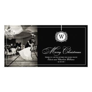 Merry Christmas Photo Card | Black White Monogram
