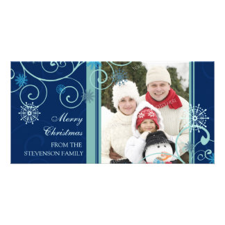 Merry Christmas Photo Card Blue Snowflakes