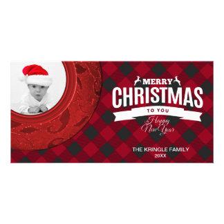 Merry Christmas Photo Card Buffalo Plaid Red