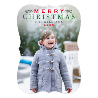 Merry Christmas Photo Card | Classic Red and Green