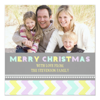Merry Christmas Photo Card Colorful Chevron Personalized Invite