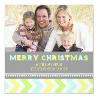 Merry Christmas Photo Card Colorful Chevron Invitations