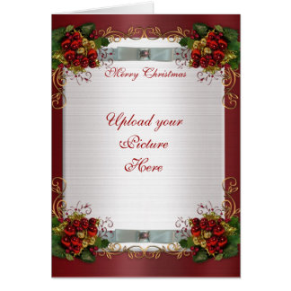 Merry Christmas photo card elegant red satin