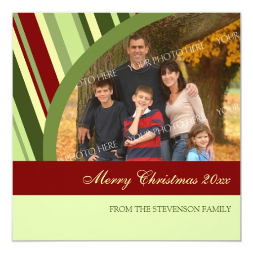 Merry Christmas Photo Card Festive Stripes