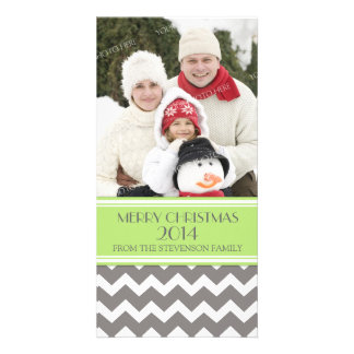 Merry Christmas Photo Card Green Grey Chevron