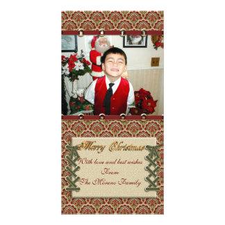 """Merry Christmas"" photo card linen-look"