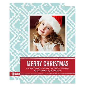 Aztec Themed Merry Christmas Photo Card | Red and Blue Ikat