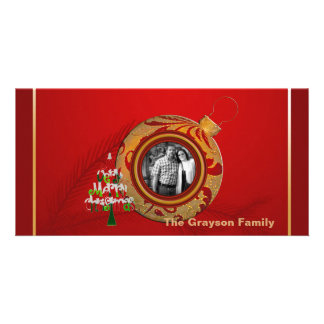 Merry Christmas Photo Card Red Gold Ornament